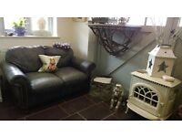 Grey Black Slate Leather Chesterfield 2 Seater Snuggle Cuddle Sofa Vintage