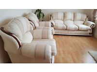 3 Piece Suite in lovely cream/neutral will fit in any decor.