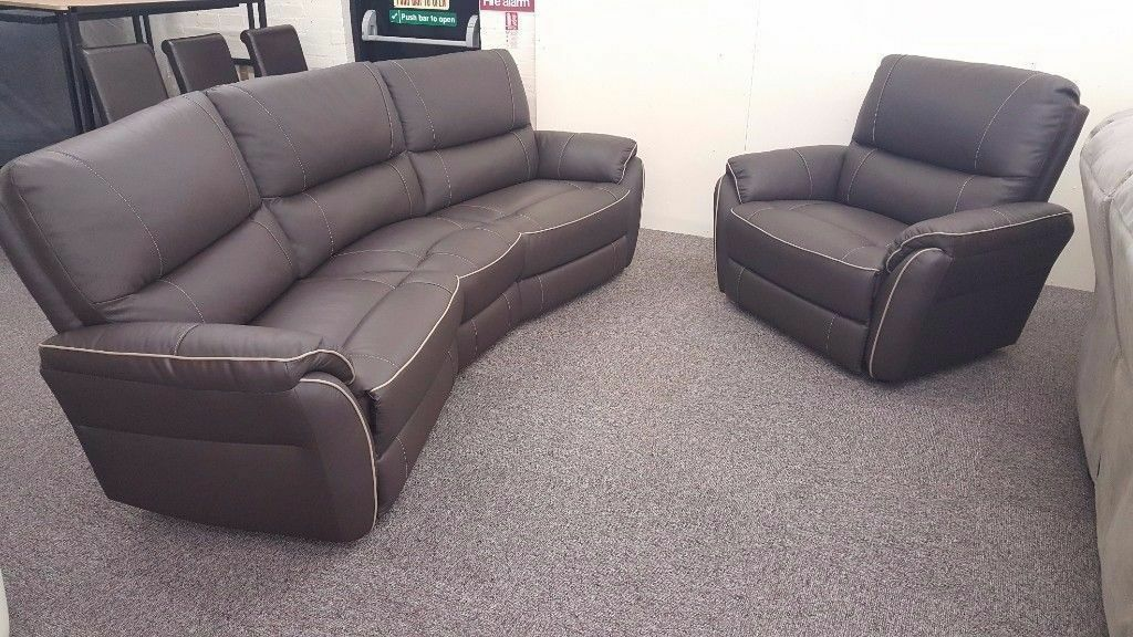 ScS Teo Dark Brown Leather 4 Seater Curved Sofa & Armchair **CAN DELIVER**