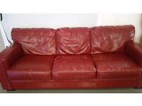 Red leather 3 seater and 2 seater sofa