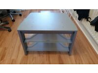 TV Stand - Silver TV Stand with Glass Shelves