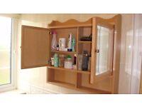 BATHROOM WALL HUNG CABINET LIMED OAK WITH MIRROR DOORS