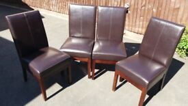 Set of 4 Leather Dining Chairs, Fully Sprung.