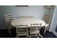dining room table and 6 x chairs 150cm x 115 cm extends to 190cm family/sturdy/ £170 ono