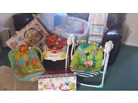 Baby Bundle - moses basket, baby swing, baby chair, baby walker, travel cot, activity mat and nest
