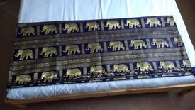 Gold & dark blue bed/sofa cover, 2.45mx4m NEW