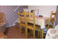 Dining table with 4 chairs, pine