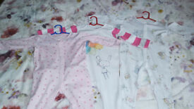 3 Baby Girl Sleepsuits 9-12 months, Next