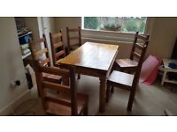 Classic Dining Set - Solid wood Dining Table and Six Chairs - Norman style ironwork detail