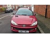 2007 red pegeout 206, 12 months MOT, low genuine mileage....