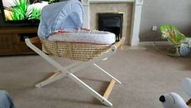 Mothercare moses basket and luxury stand