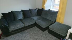 Grey fabric corner couch + single chair+ poofay