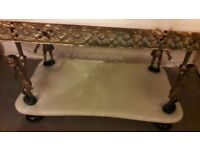 Beautiful antique marble and metal coffee table.
