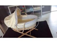 Mammas and pappas neutral moses basket, stand and mattress