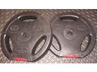 Bodypower 5kg Vinyl weight plates (x2), York EZ Curl Bar with spring collars, 2 lightweight crushers