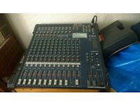 Professional PA system. 16 channel mixer, 3000w power amp, cables and 6 microphones.