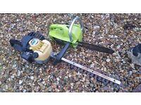 small petrol chain saw & petrol hedge cutter