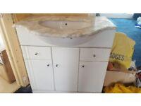 Marble vanity unit and sink