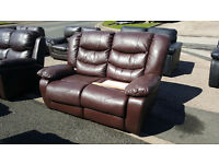 Code 39 - Damage Vicky 2 Seater Brown Recliner Leather Cheap Sofa Clearance