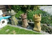 3 old crown top chimney pots