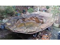 LARGE USED Fibreglass Stone Effect Garden Pond with extended edge 2.6 M X 2.0 M
