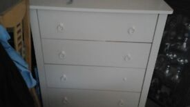 Four draw white wood chest of draws
