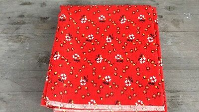 Vintage Midcentury Fabric Remnant Shelf Liner – Bright Red Floral