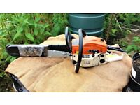 Petrol chain saw. Unused. Inherited from parent that has recently died.