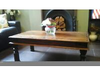 solid indian wood coffee table and two lamp tables