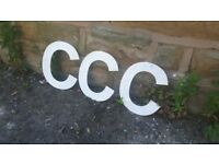 "Vintage Retro Reclaimed Salvage Shop Letters Pub Sign Industrial C c Letter ""C"" Silver Metal White"