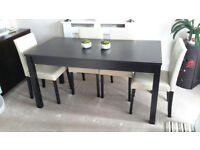 Brown real wood extending table with matching 6 chairs 8 months old new condition