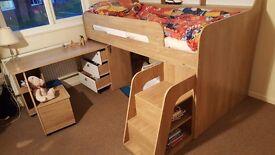 ULTIMATE STORAGE SINGLE MIDSLEEPER BED-WOOD EFFECT