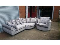 LEXY CORNER SOFA £499 PLUS CUDDLE CHAIR FREE !!! BRAND NEW IN STUNNING CHENILLE SHIMMER