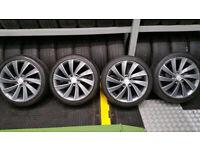 Audi VW Skoda Genuine Anthracite Pegasus 18'' Alloy Wheels + 4 x tyres 225 40 18 Bridgestone