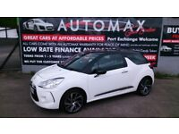 2015 CITROEN DS3 STYLE 1.2 NAV PURETECH 3 DOOR HATCH POLAR WHITE ONLY 34K S/H NEW MOT BLUETOOTH E/W