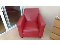 Red leather armchair for sale