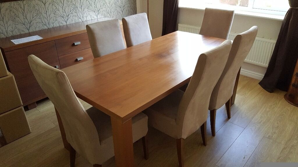 Canadian oak dining table and 6 chairsin Fair Oak, HampshireGumtree - Canadian oak table and 6 suede chairs. In good structural condition, few marks on the chairs. Selling due to moving home. Dimensions 90x180cm. Cash on collection only (no PayPal or courier collection) Buyer to collect. Also for sale matching dresser