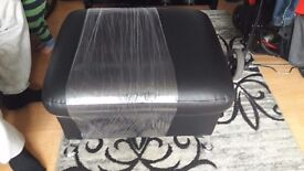 brand new black leather foot stool with storage