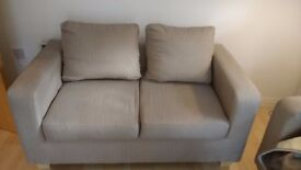 Beige two seater sofa *also selling three seater matching*