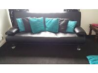 Black leaher sofa bed
