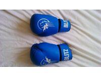 Kick pads, boxing gloves and shin guards