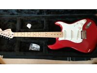 Squier Stratocaster Standard Series Guitar - Candy Red Maple Neck - With Case