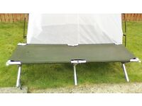 American Camp Cot/Bed. Heavy duty with aluminium frameMesh Tent. Good Cond. n.