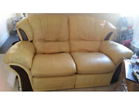 Yellow, beige two seater reclining sofa