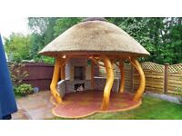 THATCHED GAZEBO SUMMER HOUSE AFRICAN BARBECUE SMOKE HOUSE WOOD SOLID