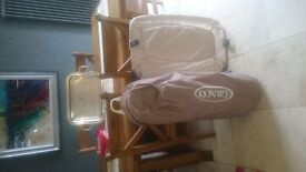 Travel Cot secondary cot. Musical night light vibrating mattress stunning condition never soiled