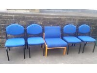Cheap blue fabric and steel side stackable chairs for home, office or meeting rooms