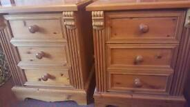 Pair of solid pine bedside drawers