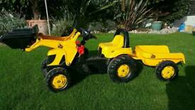 Child's Pedal JCB Digger with Trailer
