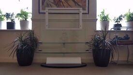Glass TV Stand with discrete wire storage